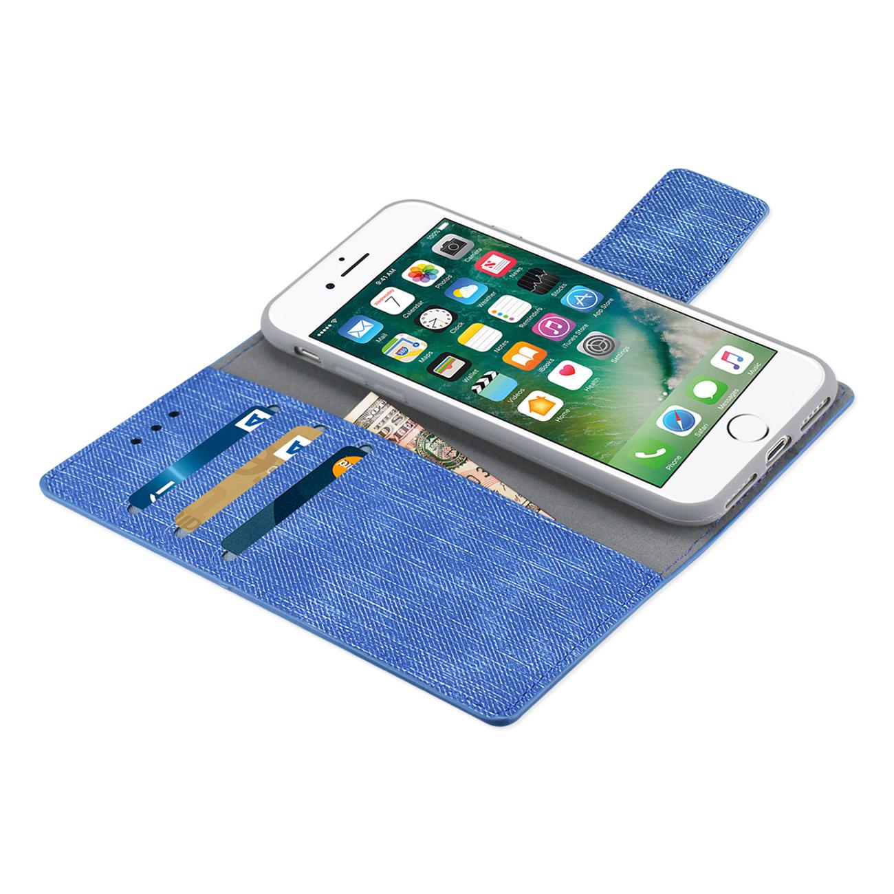 Case Iphone 8 7 Portefeuille De Denim Avec Coque Intrieure Goospery Milano Diary Pink Fc28 Iphone7nv 3